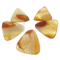 Natural Lace Agate Beads, with Crystal, Triangle, faceted, yellow, 21x22x5mm-29x32x5mm, Hole:Approx 1.5mm, Sold By Set