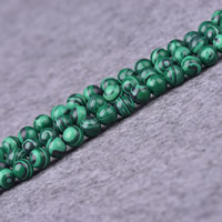 Synthetic Malachite Beads, Round, different size for choice, Hole:Approx 1-2mm, Length:Approx 15 Inch, Sold By Strand