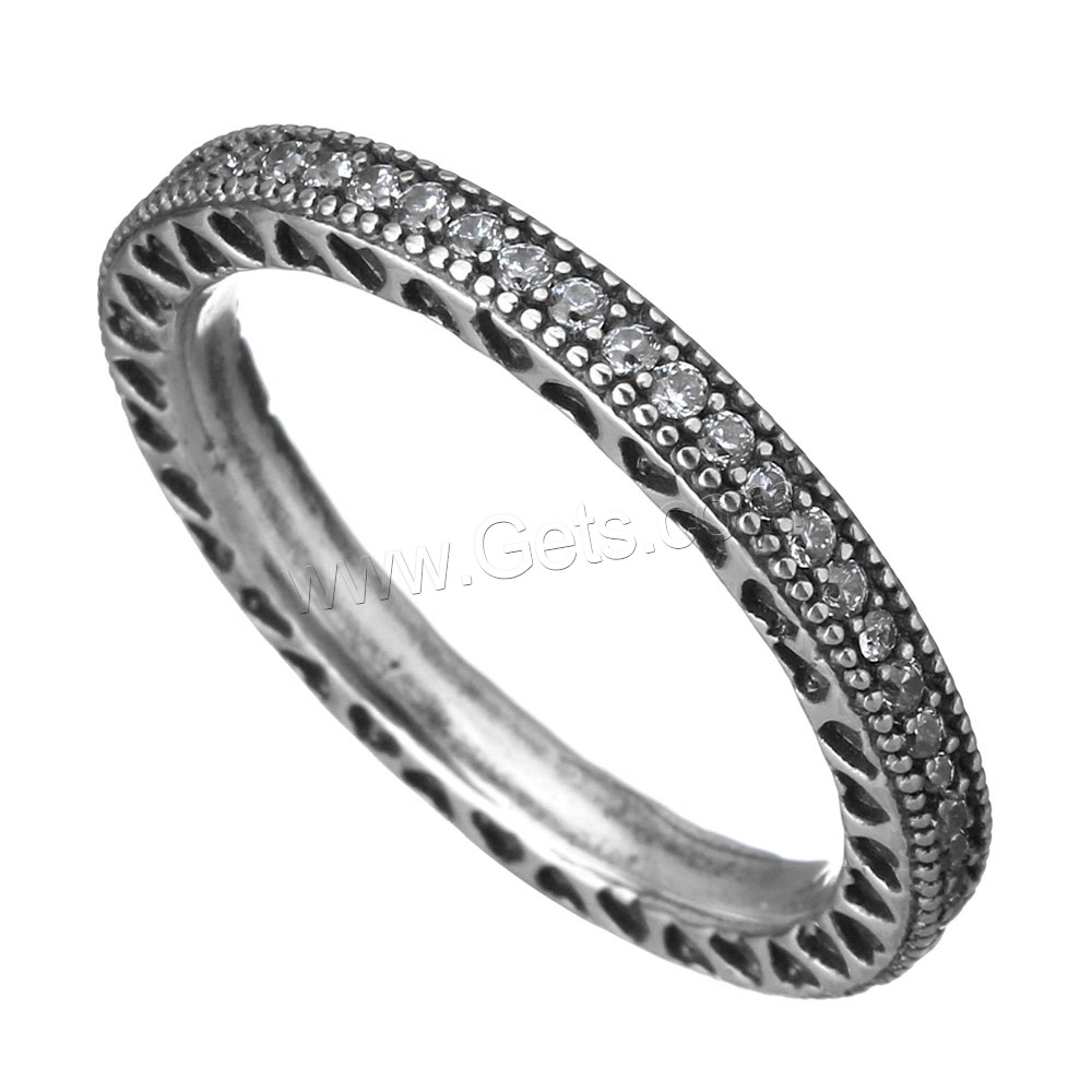 Cubic Zirconia Micro Pave Brass Finger Ring, platinum color plated, micro pave cubic zirconia & blacken, 3mm, US Ring Size:7, Sold By PC