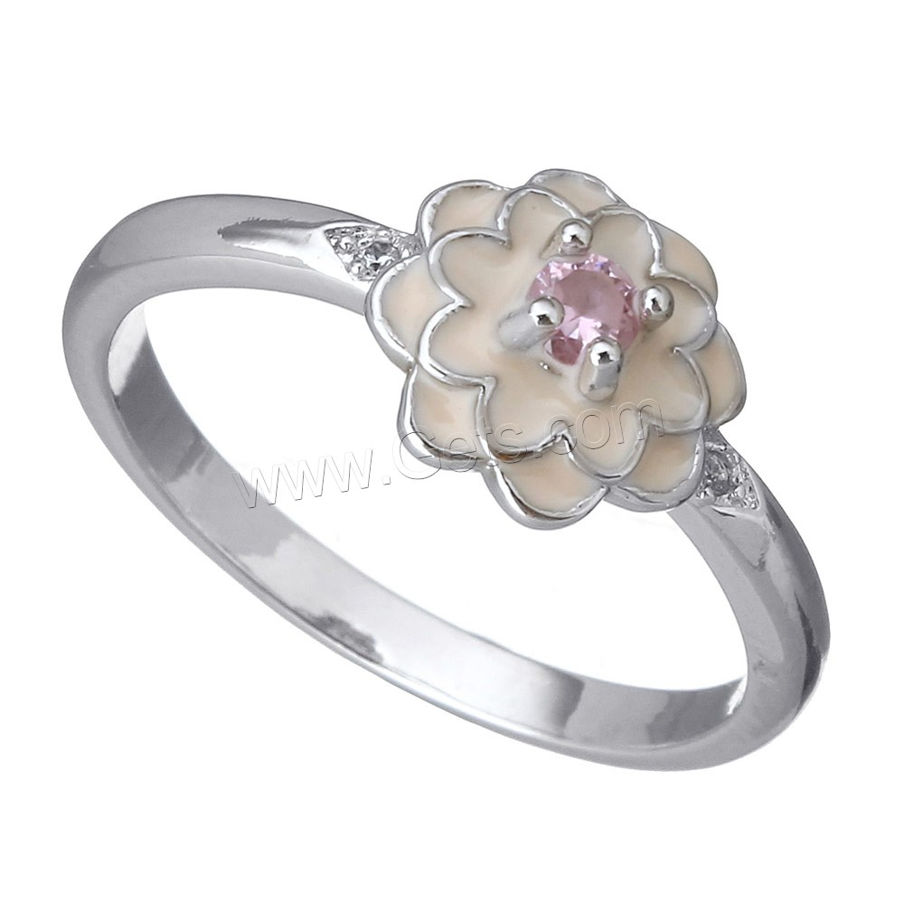 Cubic Zirconia Micro Pave Brass Finger Ring, Flower, platinum plated, micro pave cubic zirconia & enamel, 9x5mm, US Ring Size:6.5, Sold By PC