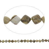 Picture Jasper Beads, Rhombus, 13x5mm, Hole:Approx 1mm, Length:Approx 15 Inch, Approx 33PCs/Strand, Sold By Strand