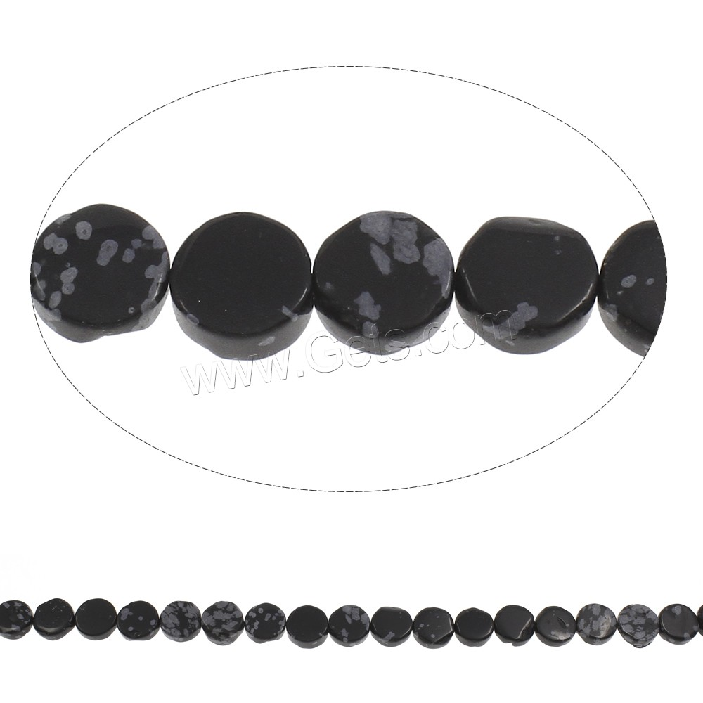 Snowflake Obsidian Bead, Flat Round, 12x5mm, Hole:Approx 1mm, Length:Approx 15 Inch, Approx 33PCs/Strand, Sold By Strand