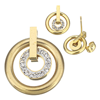 Stainless Steel Jewelry Sets, pendant & earring, with Rhinestone Clay Pave, Donut, gold color plated, 20x23.5x5mm, 13x16x16mm, Hole:Approx 3x2mm, Sold By Set