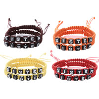 Friendship Bracelets, Waxed Cotton Cord, with Plastic, word sister, adjustable, Length:Approx 6 Inch, Sold By Pair