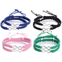 Couple Bracelet, Waxed Cotton Cord, with Zinc Alloy, Number 8, platinum plated, adjustable, more colors for choice, Length:Approx 6.6 Inch, Sold By Pair