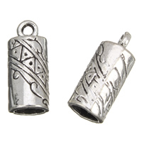 Zinc Alloy End Cap, Column, antique silver color plated, lead & cadmium free, 8x18mm, Hole:Approx 1.5mm, 5mm, 100G/Bag, Sold By Bag