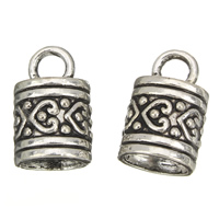 Zinc Alloy End Cap, Column, antique silver color plated, lead & cadmium free, 10x16mm, Hole:Approx 3mm, 7mm, 100G/Bag, Sold By Bag