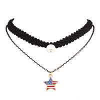 Fashion Choker Necklace, Nylon Cord, with Glass Pearl, with 2lnch extender chain, Star, plated, oval chain & enamel & with rhinestone & 2-strand, 18mm, Length:Approx 13 Inch, Sold By Strand