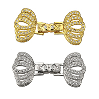 Brass Fold Over Clasp, plated, with connector bar & micro pave cubic zirconia, more colors for choice, 34.5x16x4.5mm, Hole:Approx 3x2mm, Sold By Set