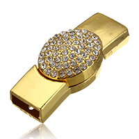 Zinc Alloy Magnetic Clasp, gold color plated, with rhinestone, 42x18x10.5mm, Hole:Approx 11x4mm, Sold By PC