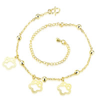 comeon® Jewelry Anklet, Brass, with 3.9 lnch extender chain, Flower, real gold plated, oval chain, 11x15mm, Length:Approx 7.8 Inch, Sold By Strand