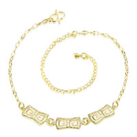 comeon® Jewelry Anklet, Brass, with 3.9 lnch extender chain, real gold plated, curb chain, 50x7mm, Length:Approx 7.8 Inch, Sold By Strand