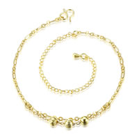 comeon® Jewelry Anklet, Brass, with 3.9 lnch extender chain, real gold plated, figaro chain, 45x5mm, Length:Approx 7.8 Inch, Sold By Strand