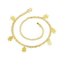 comeon® Jewelry Anklet, Brass, with 3.9 lnch extender chain, Four Leaf Clover, real gold plated, curb chain & ball chain & 2-strand, 11x6mm, Length:Approx 7.8 Inch, Sold By Strand