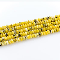Yellow Turquoise Beads, Rondelle, natural, yellow, 2x4mm, Hole:Approx 1mm, Length:Approx 15 Inch, Approx 190PCs/Strand, Sold By Strand