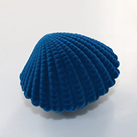Velveteen Ring Box, with Glue Film, Shell, blue, 64x51x44mm, Sold By PC