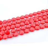 Synthetic Coral Beads, Flat Round, 12mm, Hole:Approx 1mm, Length:Approx 15 Inch, Approx 31PCs/Strand, Sold By Strand