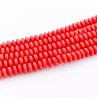 Synthetic Coral Beads, Rondelle, 3x6mm, Hole:Approx 1mm, Length:Approx 15 Inch, Approx 127PCs/Strand, Sold By Strand