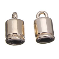 Zinc Alloy End Cap, real gold plated, lead & cadmium free, 6x10mm, Hole:Approx 1mm, 3mm, 20PCs/Bag, Sold By Bag