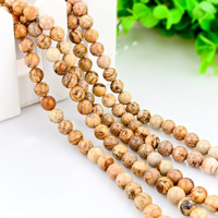 Picture Jasper Beads, Round, natural, different size for choice, Hole:Approx 1mm, Length:Approx 15 Inch, Sold By Strand