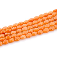 Red Aventurine Bead, Flat Oval, natural, 6x8mm, Hole:Approx 1mm, Length:Approx 15 Inch, Approx 47PCs/Strand, Sold By Strand