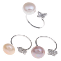 Brass Cuff Finger Ring, with Freshwater Pearl, Butterfly, platinum color plated, natural & micro pave cubic zirconia, mixed colors, nickel, lead & cadmium free, 13-14mm, 14x30x22mm, 220x35x140mm, US Ring Size:8, 36PCs/Box, Sold By Box