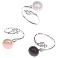 Brass Cuff Finger Ring, with Freshwater Pearl, platinum color plated, with rhinestone, mixed colors, nickel, lead & cadmium free, 11-12mm, 22x28x22mm, 220x35x140mm, US Ring Size:12, 36PCs/Box, Sold By Box