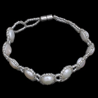 Cultured Freshwater Pearl Bracelets, with Glass Seed Beads, brass magnetic clasp, Flat Round, natural, 12x5mm, Length:Approx 7 Inch, Sold By Strand