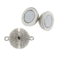 Brass Magnetic Clasp, Round, platinum color plated, micro pave cubic zirconia, nickel, lead & cadmium free, 20x14mm, Hole:Approx 1mm, Sold By PC