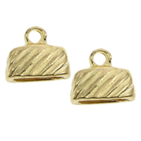 Zinc Alloy End Cap, gold color plated, lead & cadmium free, 13x11x5mm, Hole:Approx 1.5mm, 10x25mm, 1000PCs/Bag, Sold By Bag