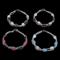 Cultured Freshwater Pearl Bracelets, with Glass Seed Beads & Glass, brass lobster clasp, Oval, more colors for choice, 7-8mm, Length:Approx 7 Inch, Sold By Strand