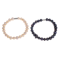 Cultured Freshwater Pearl Bracelets, brass magnetic clasp, Potato, more colors for choice, 7-8mm, Length:Approx 7 Inch, Sold By Strand