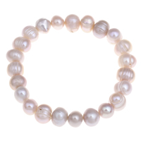 Cultured Freshwater Pearl Bracelets, Potato, natural, pink, 7-8mm, Length:Approx 7 Inch, Sold By Strand