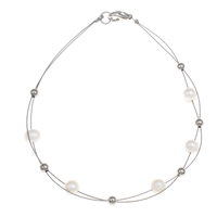 Natural Freshwater Pearl Necklace, with Tiger Tail Wire, brass lobster clasp, platinum color plated, 5-6mm, Length:Approx 17 Inch, Sold By Strand