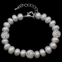 Cultured Freshwater Pearl Bracelets, with Rhinestone Clay Pave, brass lobster clasp, with 5cm extender chain, Button, natural, white, 8-9mm, Length:Approx 6 Inch, Sold By Strand