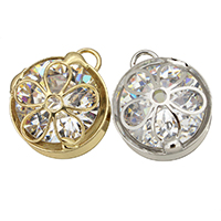 Cubic Zirconia (CZ) Zinc Alloy Pendants, Flower, plated, with cubic zirconia, more colors for choice, 15x17.5x8mm, Hole:Approx 3mm, Sold By PC