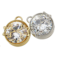 Cubic Zirconia (CZ) Zinc Alloy Pendants, plated, with cubic zirconia, more colors for choice, 15x17x9mm, Hole:Approx 3mm, Sold By PC