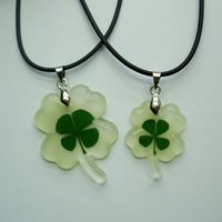 Couple Jewelry Necklace, Nylon Cord, with Resin & Zinc Alloy, Four Leaf Clover, platinum color plated, four leaf clover design, Length:Approx 18 Inch, 2Strands/Set, Sold By Set