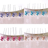 Hair Pins, Zinc Alloy, with Crystal, Butterfly, platinum color plated, faceted & with rhinestone, more colors for choice, 70x20mm, 4PCs/Lot, Sold By Lot