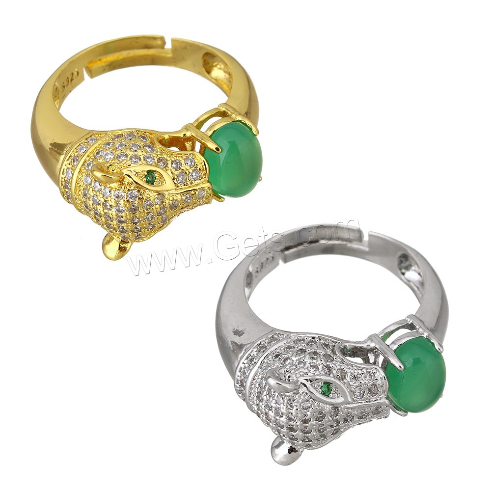Cubic Zirconia Micro Pave Brass Finger Ring, with Green Calcedony, Leopard, plated, natural & with 925 logo & adjustable & micro pave cubic zirconia, more colors for choice, 11mm, 4.5mm, US Ring Size:8, Sold By PC
