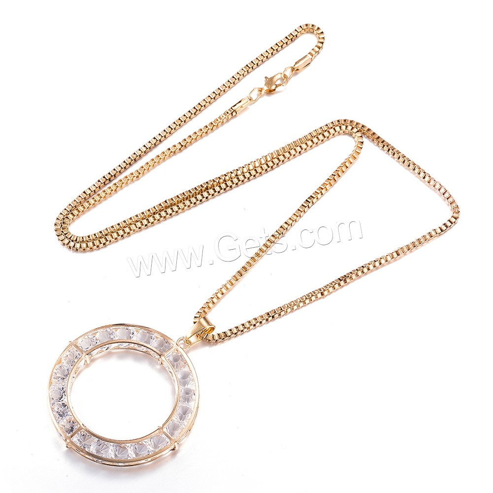 comeon® Jewelry Necklace, Zinc Alloy, with Rhinestone, Donut, real gold plated, box chain, 65x51mm, Length:Approx 29.5 Inch, Sold By Strand