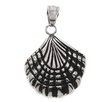 Stainless Steel Pendants, Shell, blacken, 24x29x5mm, Hole:Approx 5mm, Sold By PC