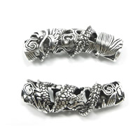 Zinc Alloy Tube Beads, antique silver color plated, hollow, 43x10mm, Hole:Approx 7.5mm, Sold By PC