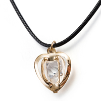 comeon® Jewelry Necklace, Zinc Alloy, with PU & Crystal, with 2 lnch extender chain, Heart, real gold plated, faceted, 16x22mm, Length:Approx 17.3 Inch, Sold By Strand