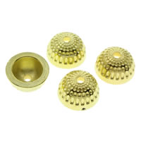 CCB Plastic Beads Caps, Copper Coated Plastic, gold color plated, 14x7mm, Hole:Approx 1mm, Approx 900PCs/Bag, Sold By Bag