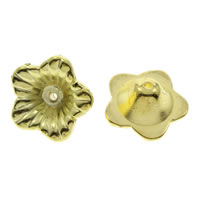 CCB Plastic Beads Caps, Copper Coated Plastic, Flower, gold color plated, 18x7mm, Hole:Approx 1mm, Approx 900PCs/Bag, Sold By Bag
