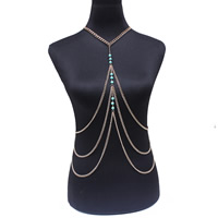 Body Chain Jewelry, Iron, with Synthetic Turquoise, with 5cm extender chain, Round, gold color plated, twist oval chain, lead & cadmium free, 51cm, Length:Approx 20 Inch, Sold By Strand