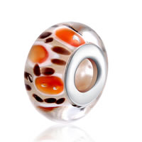 comeon® Jewelry Beads, Lampwork, Rondelle, sterling silver double core without troll, 8x15mm, Hole:Approx 5mm, Sold By PC
