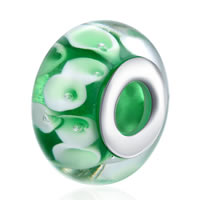 comeon® Jewelry Beads, Lampwork, Rondelle, sterling silver double core without troll, 9x15mm, Hole:Approx 5mm, Sold By PC