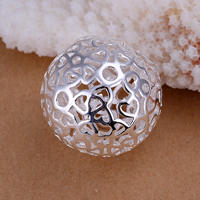 comeon® Jewelry Pendant, Brass, Round, real silver plated, hollow, nickel, lead & cadmium free, 25x25mm, Hole:Approx 2mm, Sold By PC